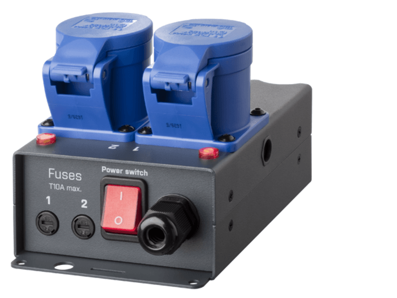 SRS DMX2SW-3 CEE;   DMX / 2 channel L+N relay switch 2x8A, DMX in/out 5pin, in+out: CEE16/3p  2 Jahre Garantie
