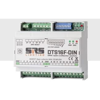 SRS DTS16F-DIN DMX switching unit, 16 channel OC-M