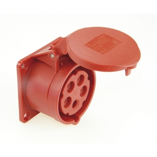 CEE mounting socket 32A, 5-pole, red, 400V, 6h, IP